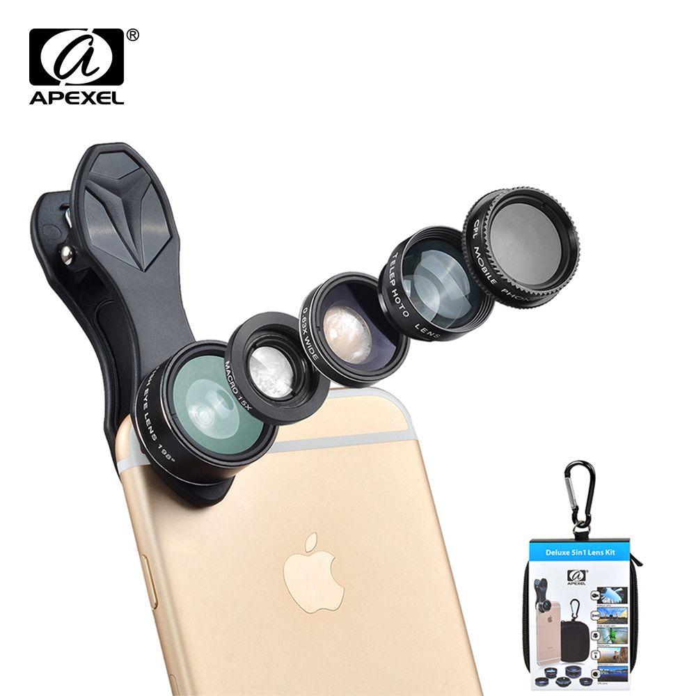 APEXEL 5 en 1 Fisheye Grand Angle Macro lentille Télescope téléobjectif lentille CPL Mobile Téléphone mini camera lens pour l'iphone Samsung xiaomi