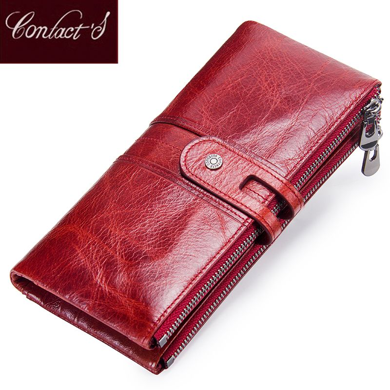 Contact's Women Purses Long Zipper Genuine Leather Ladies Clutch Bags With Cellphone Holder High Quality Card Holder Wallet
