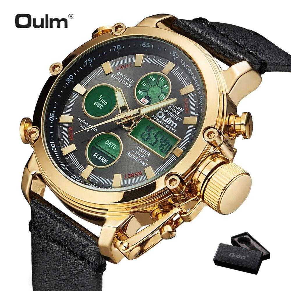2019 OULM grande taille militaire double temps montre numérique hommes calendrier alarme multifonction étanche hommes montres Top marque de luxe