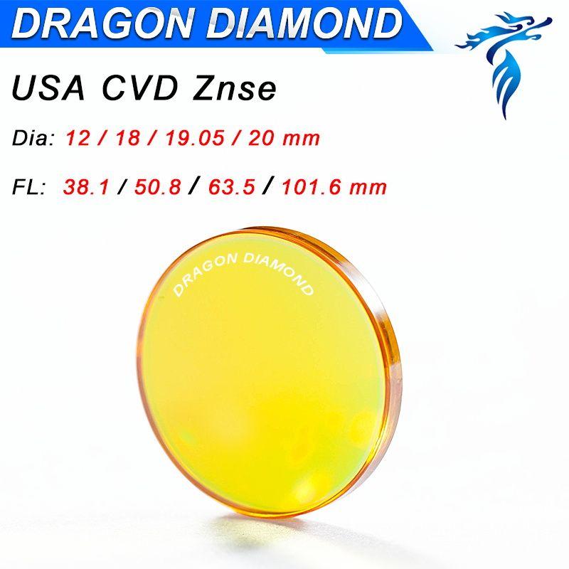 Одежда высшего качества США ZnSe CO2 линзы лазера 20 мм 19 мм 18 мм Диаметр FL 38.1 50.8 63.5 76.2 101.6 127 мм для лазерной Резка машины