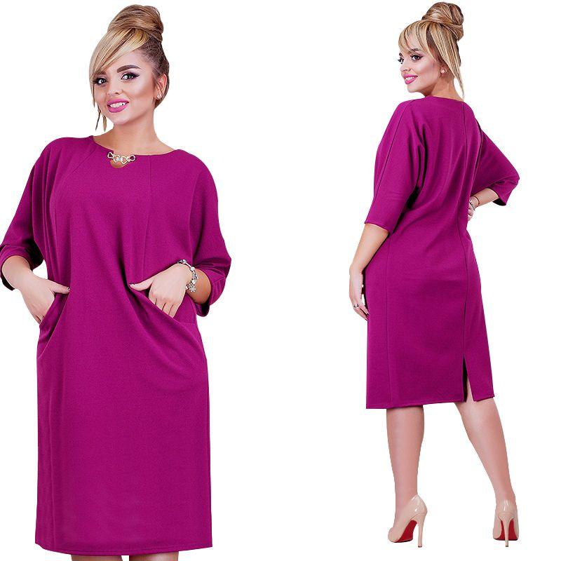 2018 nouveauté femmes robe 6XL Vestidos couleur unie droite décontracté genou longueur trois quart manches robe oversize grande taille