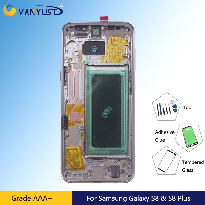 Super AMOLED Lcd Display With Frame For Samsung Galaxy S8 G950F Touch Screen Digitizer Assembly For S8 Plus G955F With Frame