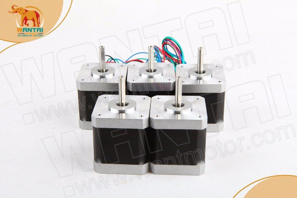 5PCS CNC Nema17 for 1.7A, 4200g.cm, 48mm length, 2-Phases,0.9 degree Wantai Stepper Motor,42BYGHM809