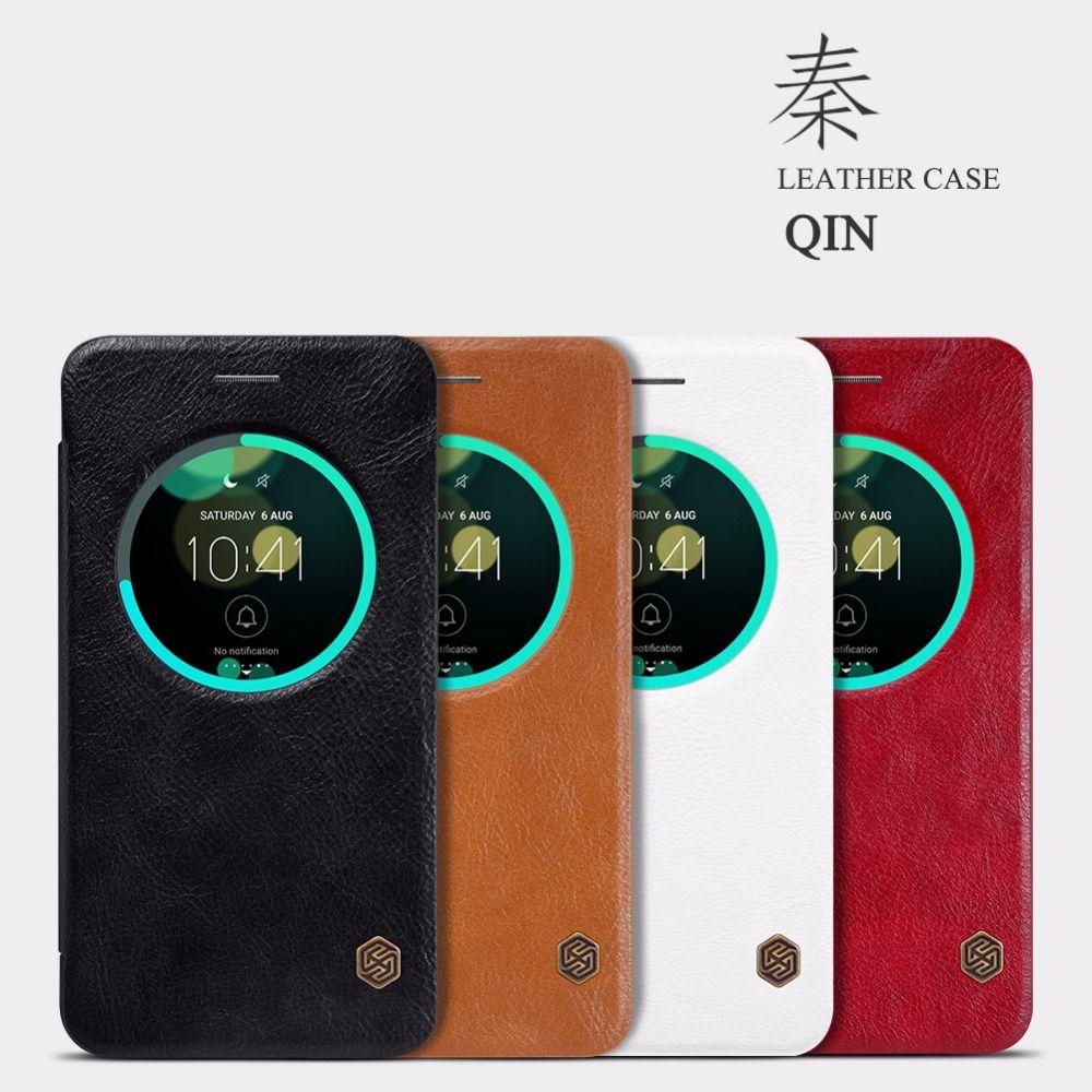 Étui Original en cuir pour téléphone portable de la série Nillkin Qin pour Asus Zenfone 3 ZE552KL étui de luxe avec fenêtres intelligentes vue Funda