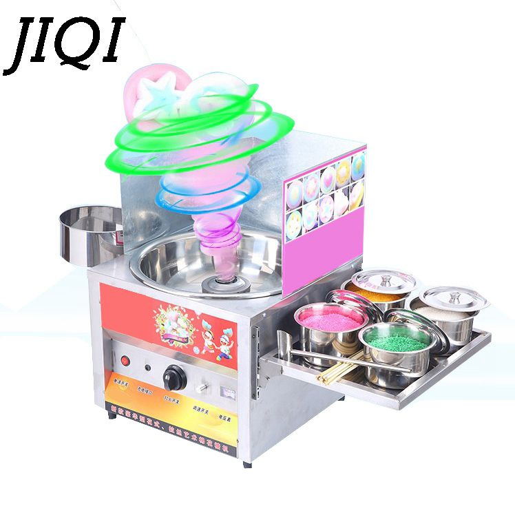 JIQI Commercial fancy gas cotton candy maker DIY sweet Candy sugar floss machine stainless steel snack equipments stalls flower