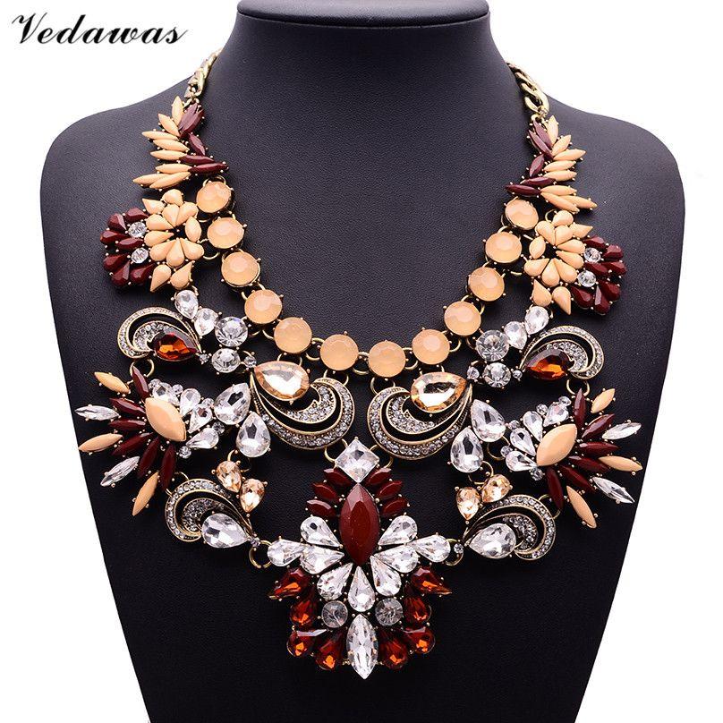 XG284 2017 Nuevo Diseño de La Vendimia Collares y Colgantes de Cristal multicolor Collar de la Declaración Flor de Cristal Colgante de Perlas de La Joyería