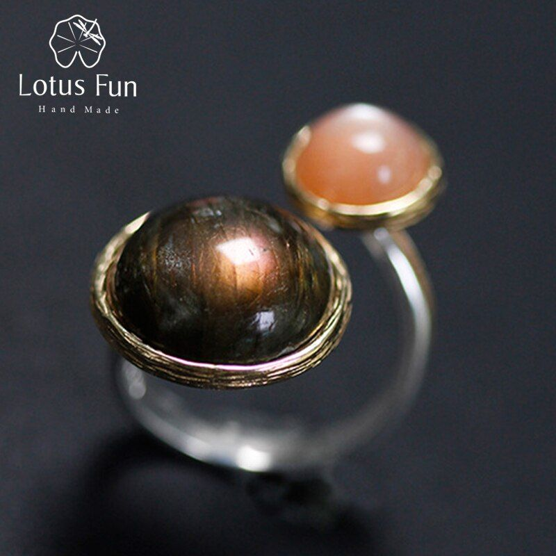Lotus Spaß Echt 925 Sterling Silber Natur Labradorit Moonlight Stein Handgemachtes Feine Schmuck Mysterious see Ringe für Frauen