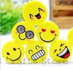 (4Pcs/Set) Emoji Eraser Emotion Kawaii Eraser Pencil Novelty Stationery School Supplies Kawaii Material  Cute Erasers Hot