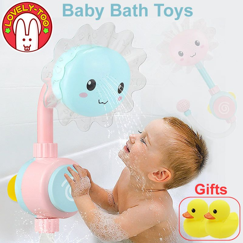 Baby Bath Toy Bathtub Showers Bathing spouts Suckers Folding Spray Faucet Play Bathroom Water Toys For Children