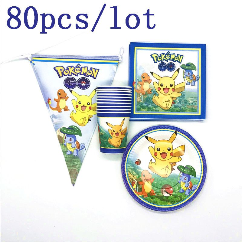 Pokemon Thema 80 teile/los Thema Party Jungen Geburtstag Party Pikachu Tasse Platte Familie Party Baby Dusche Serviette Banner Dekoration