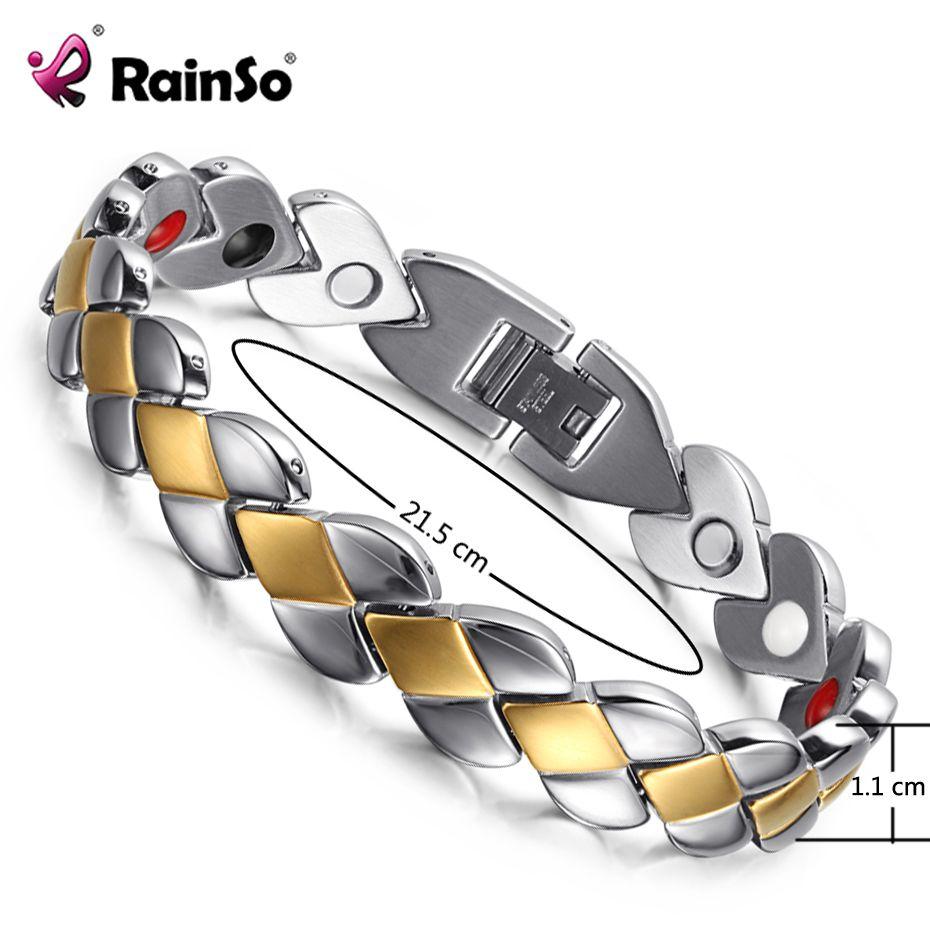 RainSo Beliebte Edelstahl Gesundheit Magnetische Armbänder für Dame Magnetische Therapie Armbänder für Arthritis Armband Einstellbar