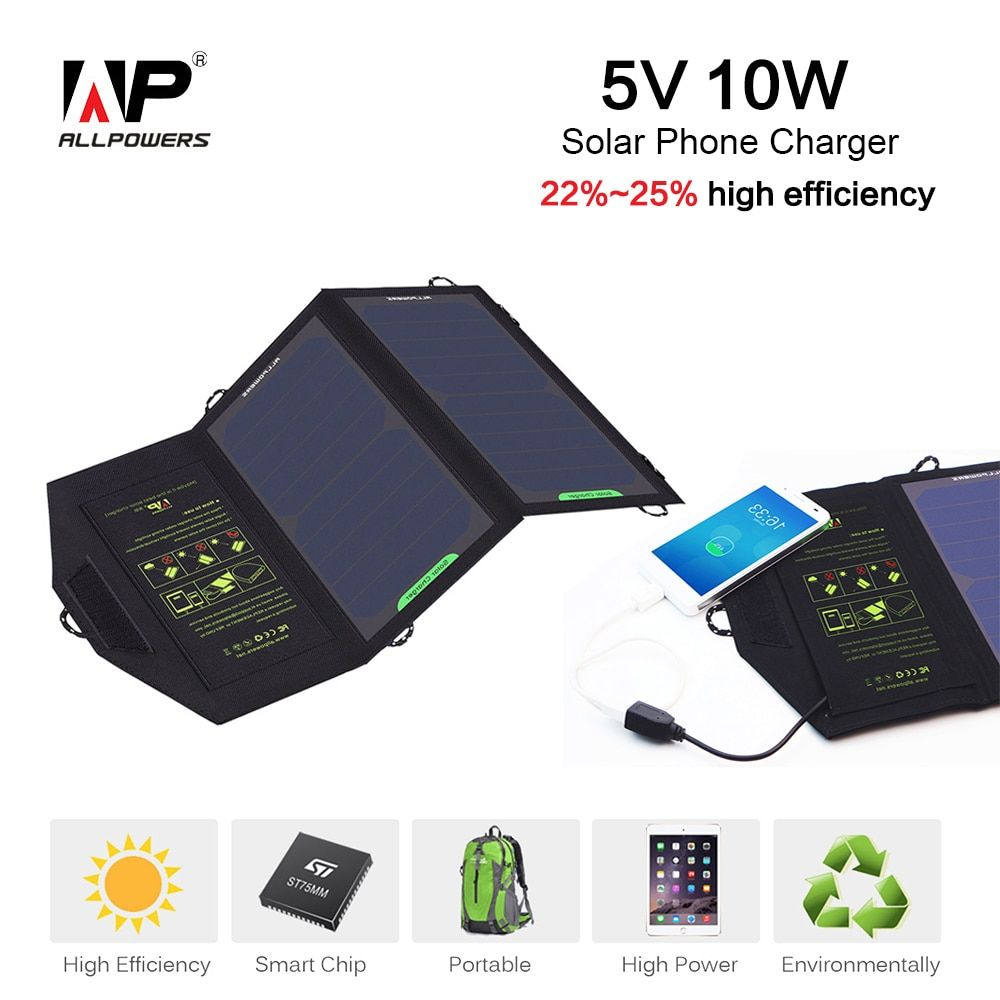 ALLPOWERS Solar Power Phone Charger 10W 5V USB Portable Solar Panel Charger for Smartphone Outdoor Camping