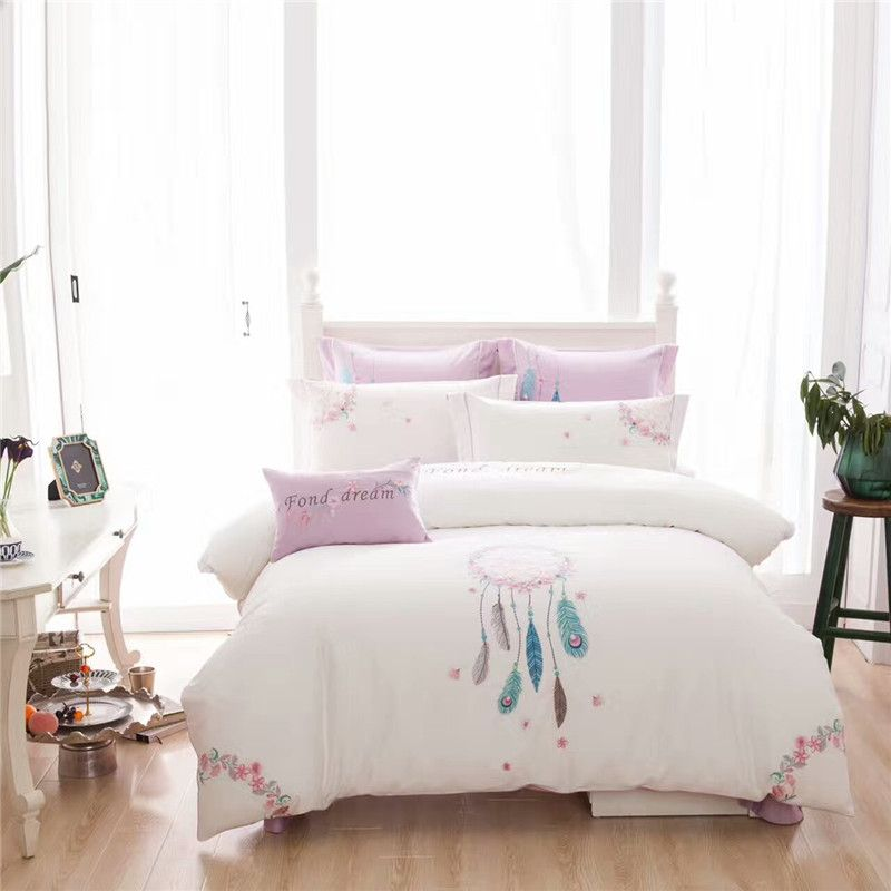 Luxury chinese embroidered bedding set King Queen size white bed set 100% cotton 4/7pcs bedsheet flat sheet duvet cover set