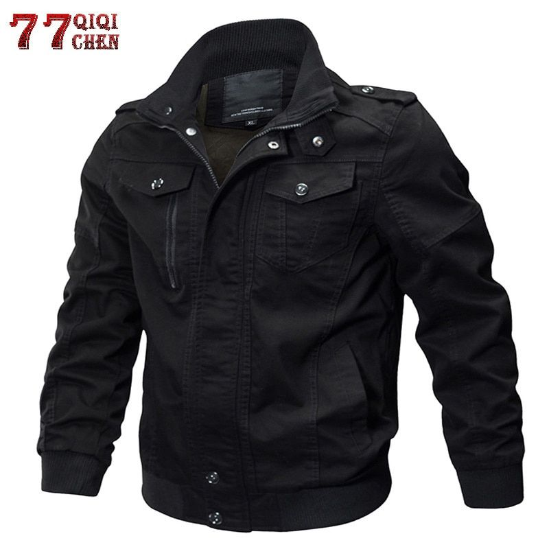 Brand Mens Winter Cotton Bomber Jacket Coat Plus Size 5XL 6XL Stand Collar Male Casual Air Force Flight Jacket Windbreaker Men