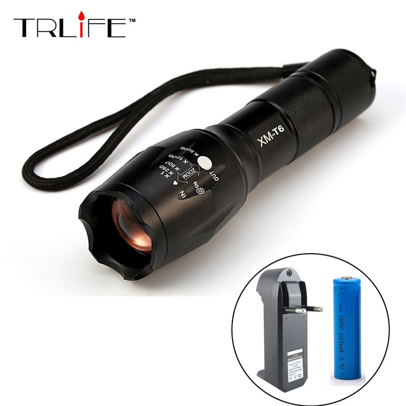 LED CREE XML T6 Flashlight 6000Lumens Torch 5modes Tactical Flashlight Zoomable Flash Light +18650 Battery + Charger