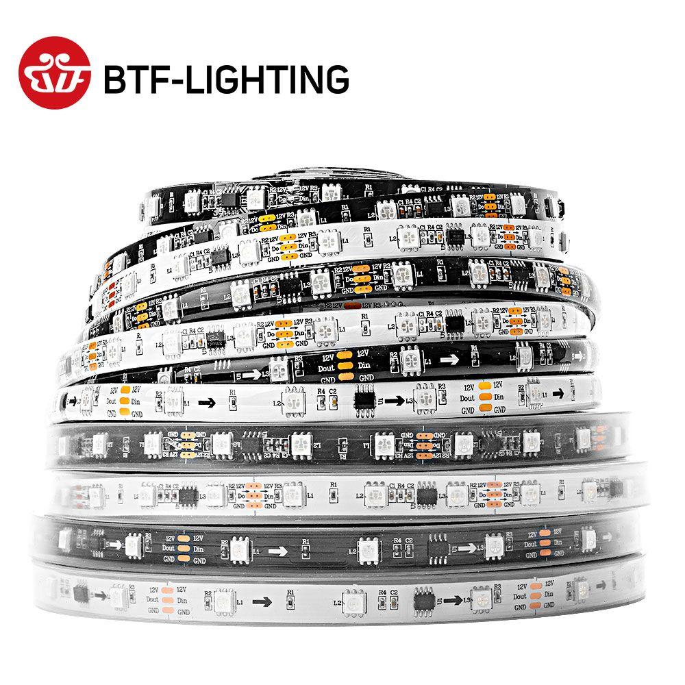 WS2811 5050 SMD RGB bande adressable 30/48/60/96/144 Led/m Led Pixels externe 1 contrôle Ic 3 leds Normal/lumineux 5m DC12V