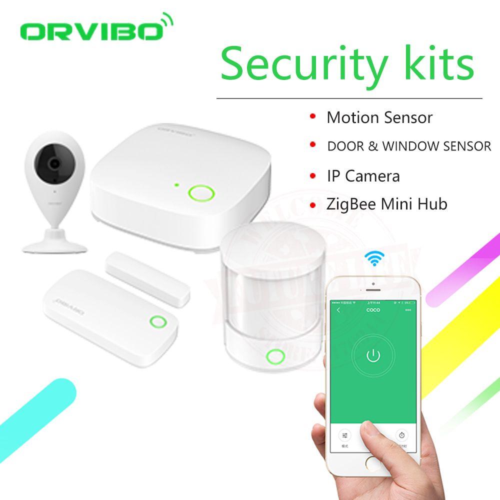 2018 Orvibo ZigBee Kit de sécurité maison intelligente pro contrôleur Hub télécommande intelligente, capteur de mouvement Zigbee capteur de porte et fenêtre