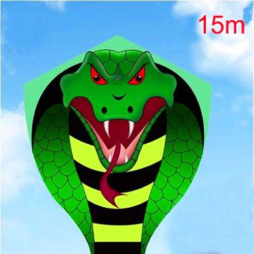 Livraison gratuite haute qualité grand 15m serpent cerf-volant bobine enfants cerf-volant jouets volants ripstop nylon tissu cerf-volant bar pêche cerf-volant dragon 3d