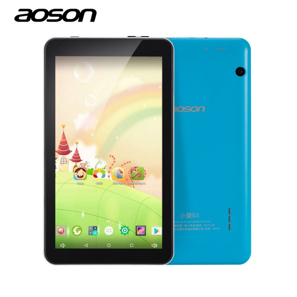 Education Cartoon tablets AOSON M753 7 inch android Tablet PC Android 6.0 16GB ROM Quad Core Tablet HD IPS1024*600 Bluetooth