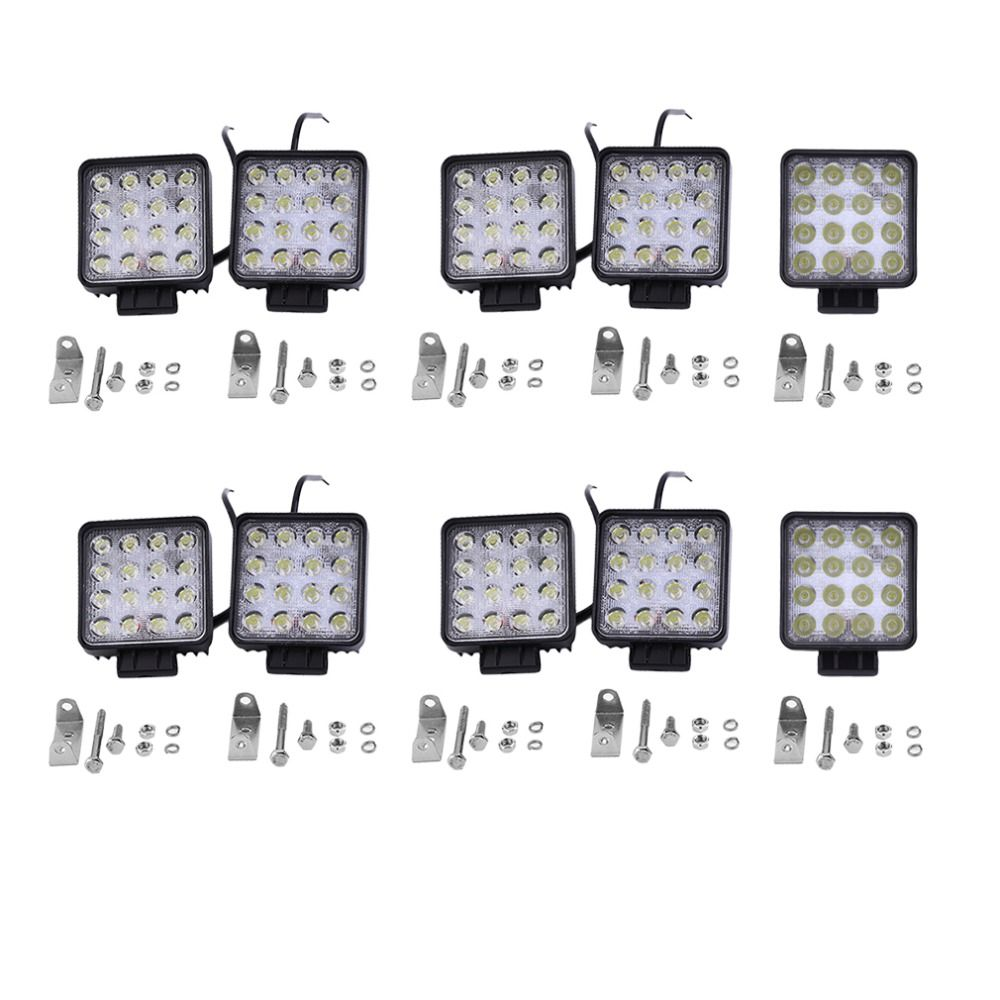 Super Bright 10pcs 48W 16 LED Day Light Flood Lamp Boat Truck Tractor Offroad Cars Auto Light Driving Lamp