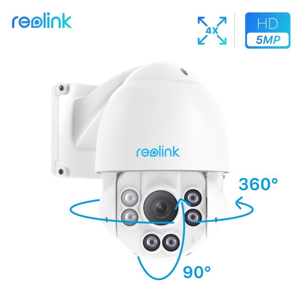 Reolink PTZ IP Camera PoE 5MP Pan/Tilt 4x Optical Zoom Night vision IP66 waterproof HD Security Cam RLC-423-5MP