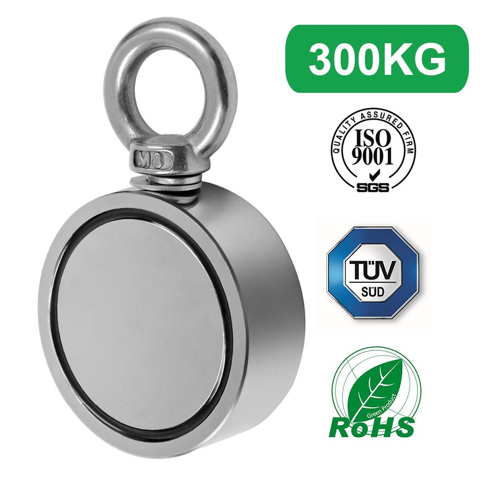 300KG Double Side Strong Salvage Magnet Fishing Pulling Force 60mm Diameter Super Strong Round Neodymium Fishing Magnet Wit