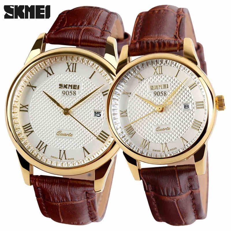 2018 New Brand Quartz Watch <font><b>lovers</b></font> Watches Women Men Dress Watches Leather Dress Wristwatches Fashion Casual Watches Gold 1/pcs