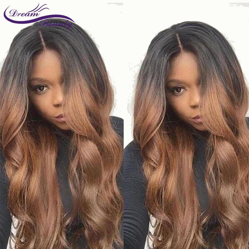 1B/30 Ombre Menschliches Haar lace Front Perücken Mit Baby-haar Körper welle Remy Haar 130 Dichte Vor Gezupft Perücken für Frauen Traum schönheit