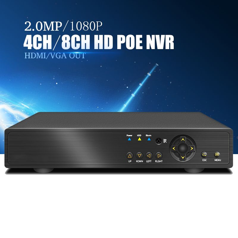 YiiSPO 4CHPOE NVR 1080P CCTV 48V IEEE802.3af Security 8CH POE NVR POE Switch Inside Network Video Recorder H.264 XMEYE P2P ONVIF