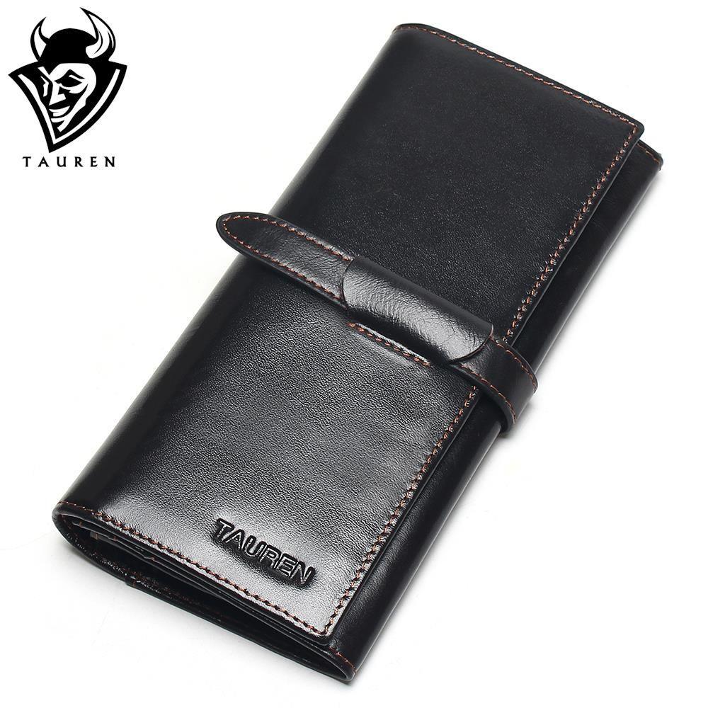 100% <font><b>Genuine</b></font> Leather Cowhide High Quality Vintage Solid Color Men Long Wallet Coin Purse Vintage Designer Male Carteira Wallets