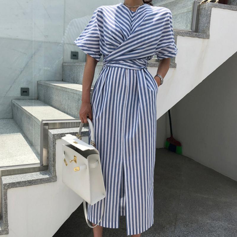 Femmes coréennes été coton bleu rayé Bandage fendu longue Robe Femme longue moulante grande taille Vestido Robe Femme Ete Sukienki