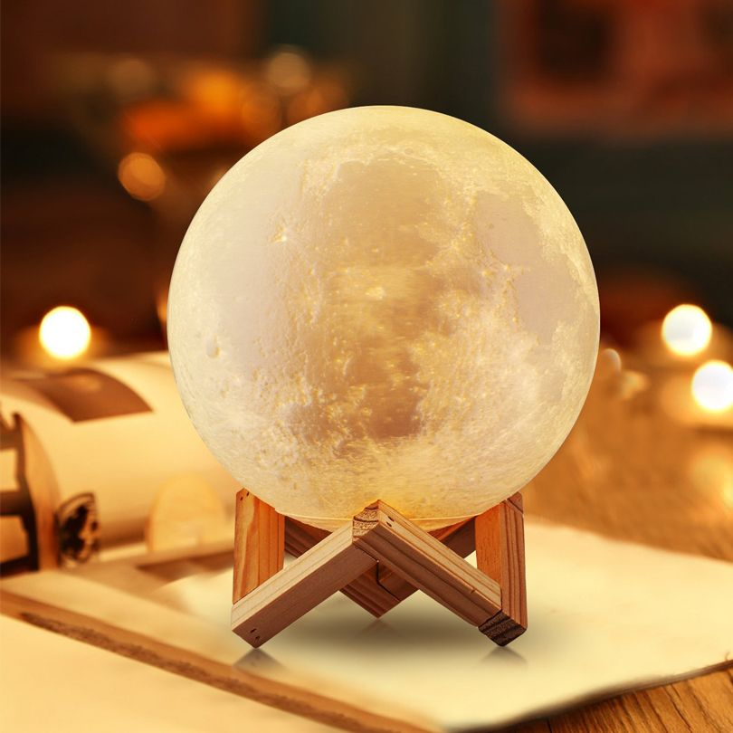 Rechargeable LED Night Lights 3D Print Moon Lamp 2 Colors Change USB Touch Sensor Luna Home Decor Bookcase Baby Creative Gifts