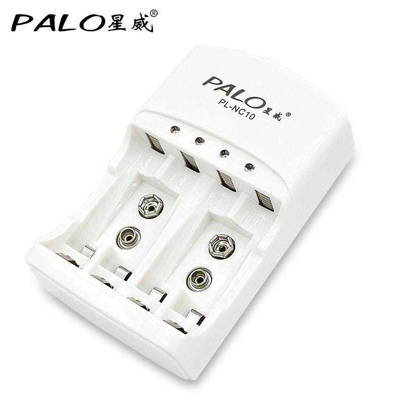 4 Slots 1.2 v AA AAA 9 v (6F22) li-ion nimh nicd batterie chargeur automatique de la batterie chargeur LED indicateur avec batterie rechargeable AA
