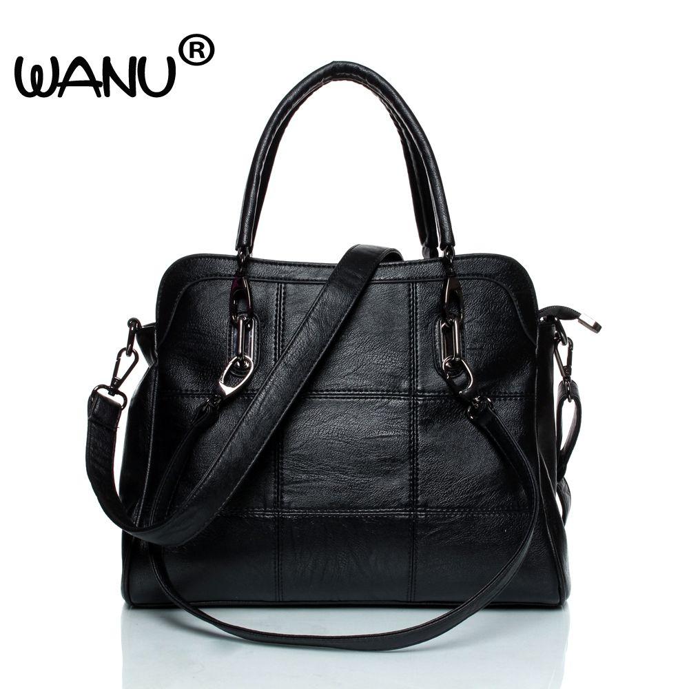 WANU Leather luxury Handbags women bags Sheepskin Female Shoulder Bag Black Totes Top-handle Bag For Wife Ladies Mother gift