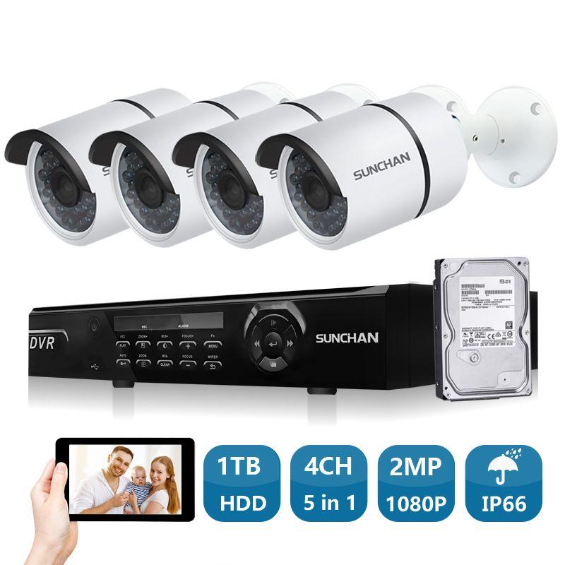 SUNCHAN 4ch 1080P AHD-H DVR 4PCS HD 2.0MP 1080P Real Time Outdoor Security Cameras Video DVR Kits CCTV Surveillance System 1TB