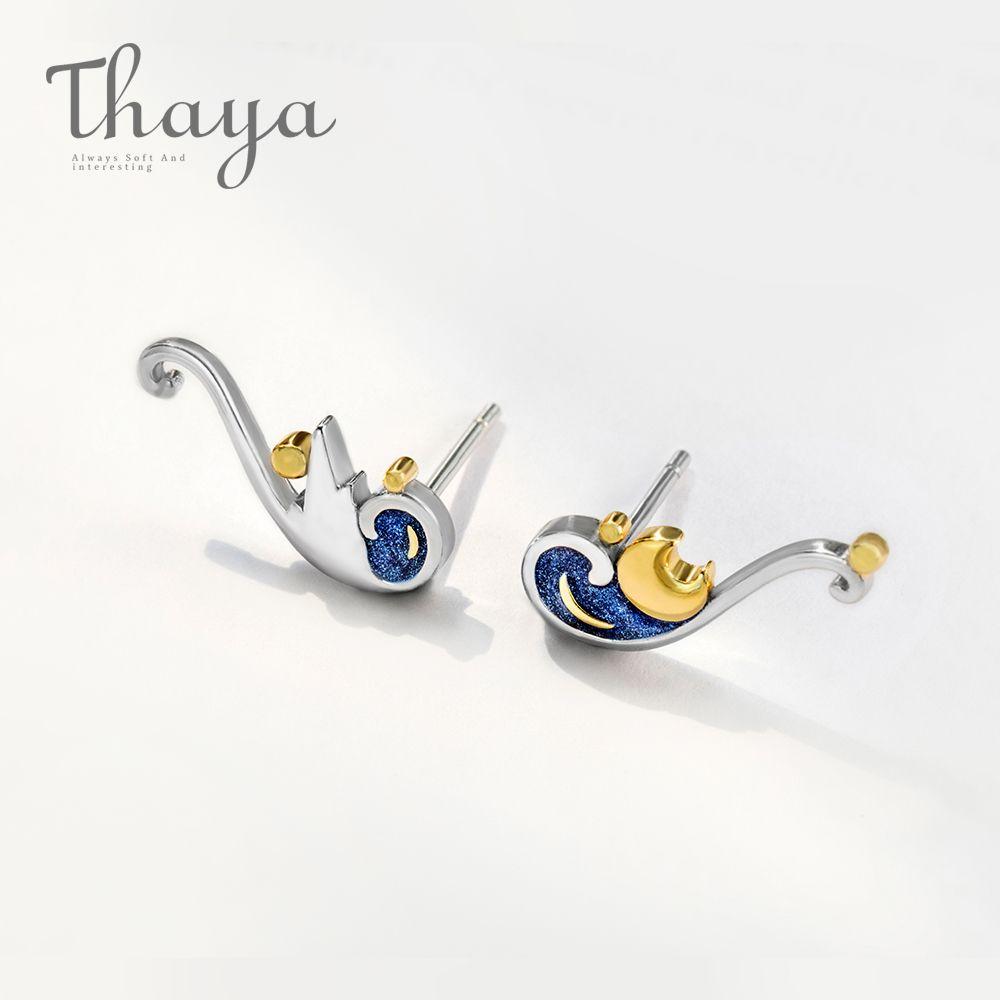 Thaya 925 boucles d'oreilles en argent Van Gogh paillettes or lune étoile boucles d'oreilles bohème Vintage émail fête bijoux pour les femmes