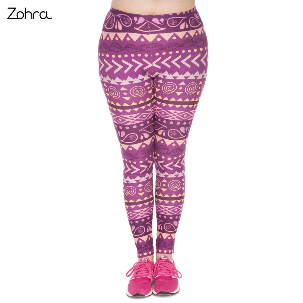 Zohra 2017 Summer Large Size Leggings Boho Purple Printed High Waist Leggins Plus Size Trousers Stretch Pants For Plump