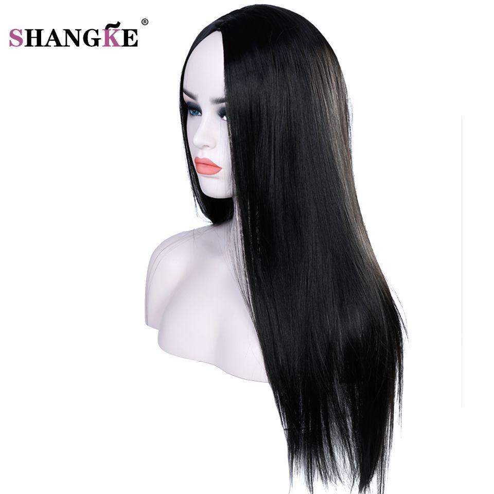 SHANGKE 22 inch Long Straight Black Wig Hairstyles Heat Resistant Synthetic Wigs For Black Women Long Female Wigs Women