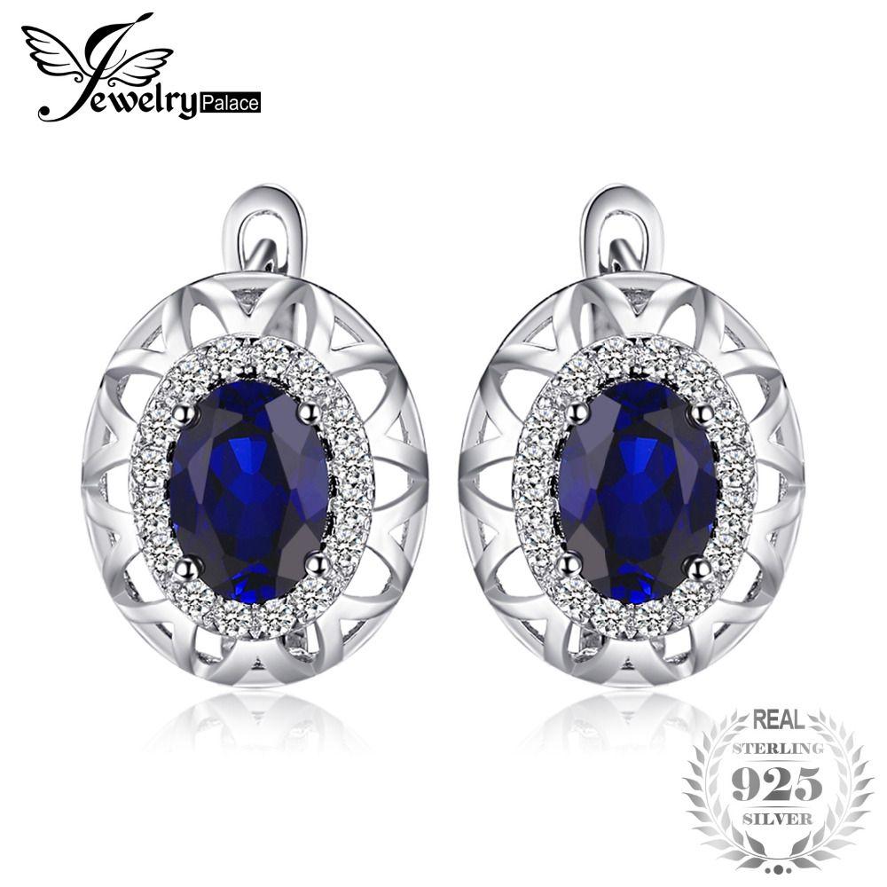 JewelryPalace Unique Conception 2.4ct Créé Bleu Saphir Clip Sur Boucles D'oreilles 925 Argent Sterling De Haute Qualité 2018 Nouvelle Mode