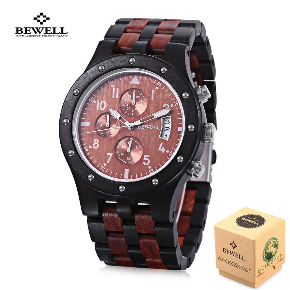 2018 BEWELL Wood Watch Men Wooden Vintage Mens Watches mens Watches Top Brand Luxury Quartz Watches Relogio Masculino