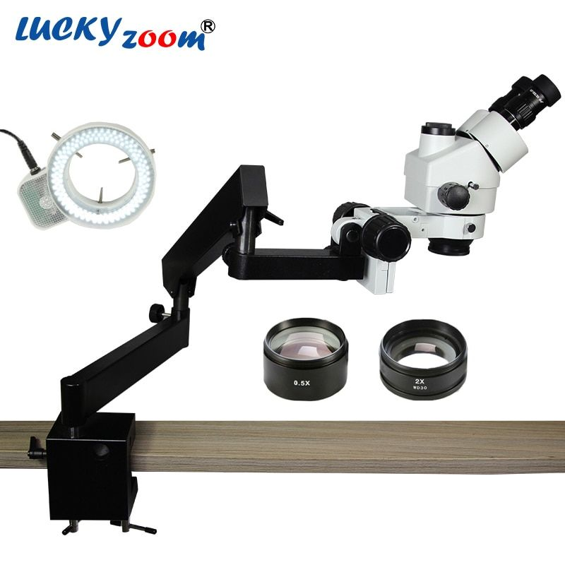 Lucky Zoom Brand 3.5X-90X STEREO ZOOM MICROSCOPE +ARTICULATING STAND with CLAMP+144 LED Ring Illumination Light