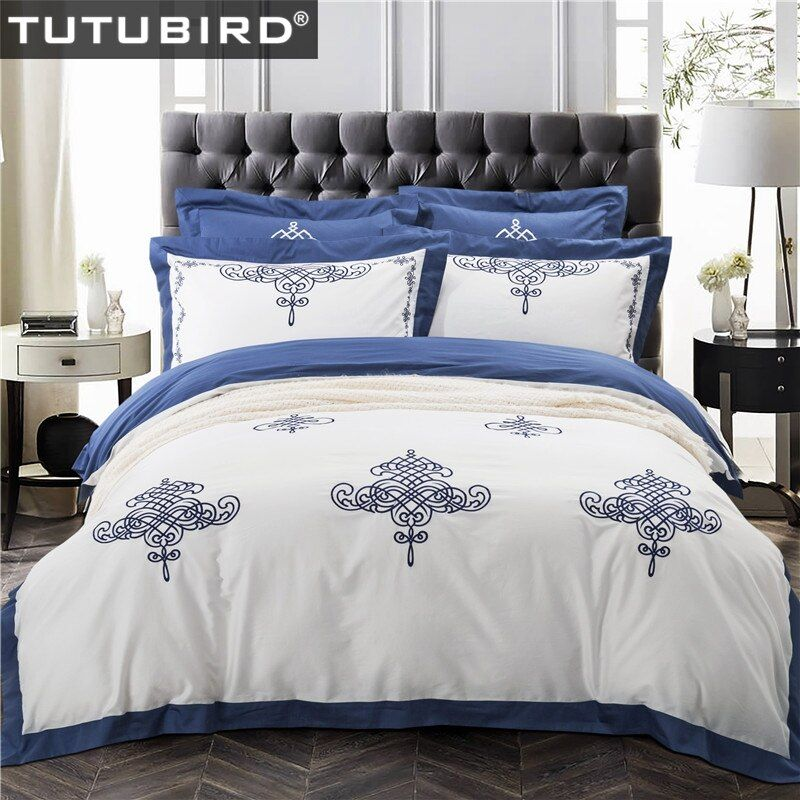 TUTUBIRD Luxury Embroidery Egyptain Cotton Bedlinen Bedclothes 4pcs Chinese classical style wedding Bedding sets Queen King Size