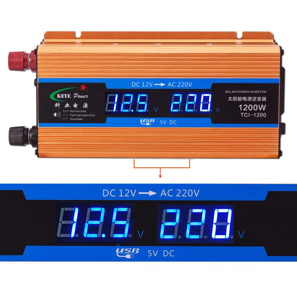 1200W Car inverter 12 V 220 V Voltage <font><b>Converter</b></font> 12v to 220v Car Charger Volts display CY892