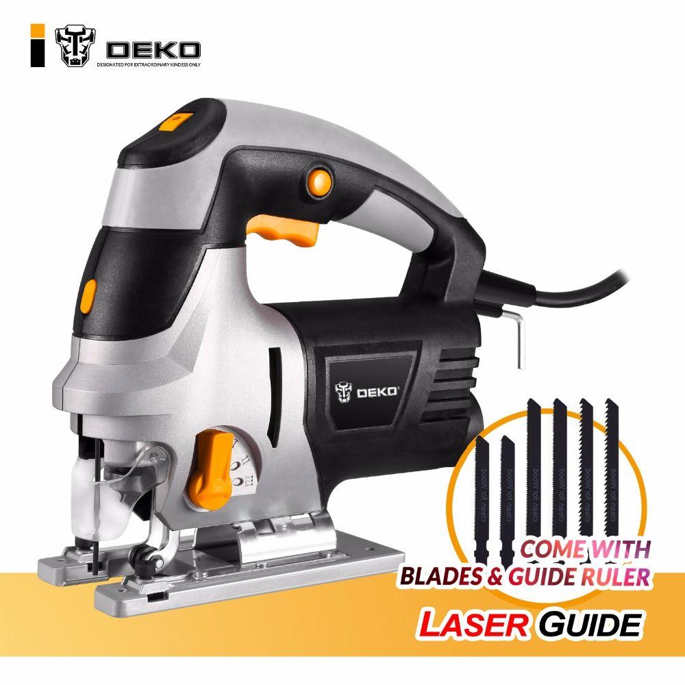 DEKO Laser Jig Sah mit LED Licht, Variable Geschwindigkeit Umfasst 6 stücke Klingen, Metall Lineal, staub Rohr, Allen Wrench Elektrische Säge Werkzeuge