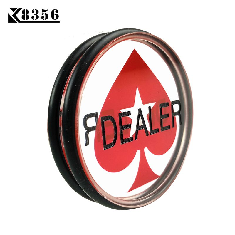 K8356 Baccarat 3inch Acrylic Pressing Texas Hold'em Poker Cards Guard Poker Dealer Button Acrylic Heart Rubber Ring Clear DEALER