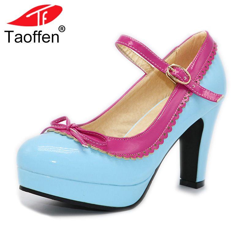 TAOFFEN Women Size 32-48 Women High Heel Shoes Ladies Brand Bowtie Round Toe Heeled Pumps Ankle Strap Platform Lady Footwear