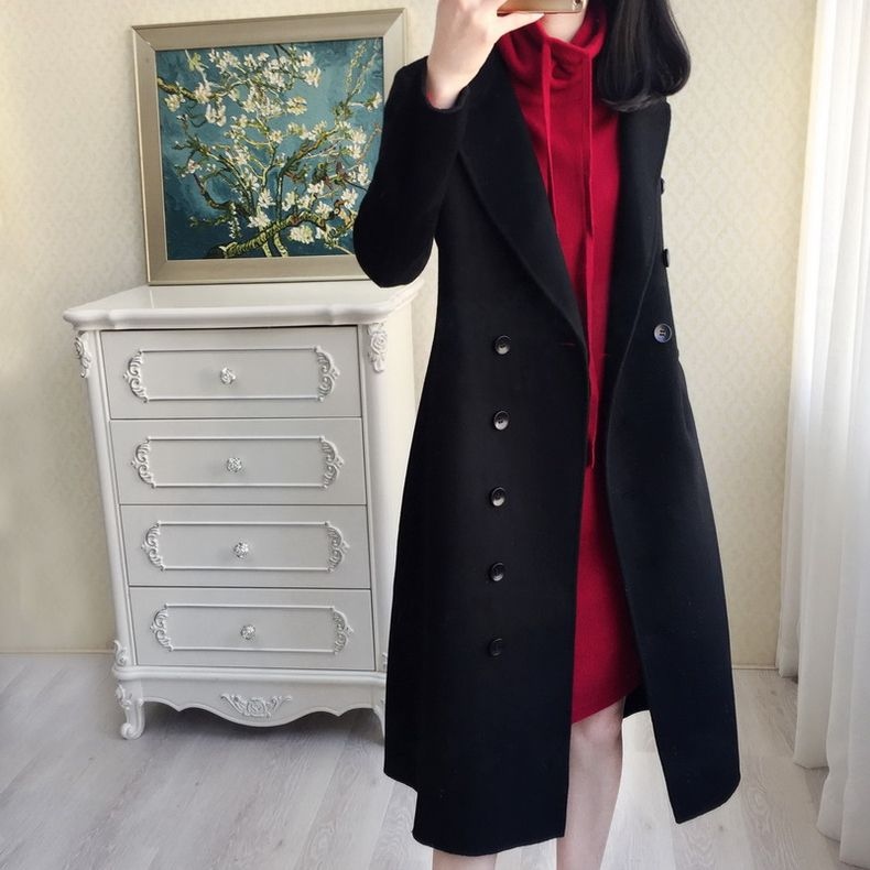 European and American fine temperament, new cashmere, wool, slim and red dress