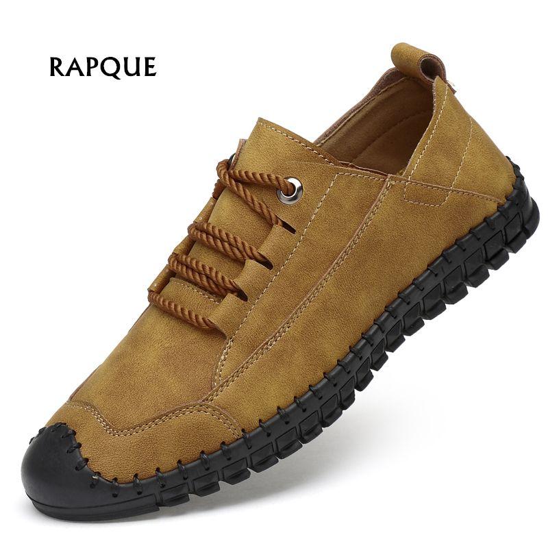 Men shoes casual leather Mans footwear handtailor vintage Driving shoes non-slip slip on shoes men Outdoor flats big size 38-46