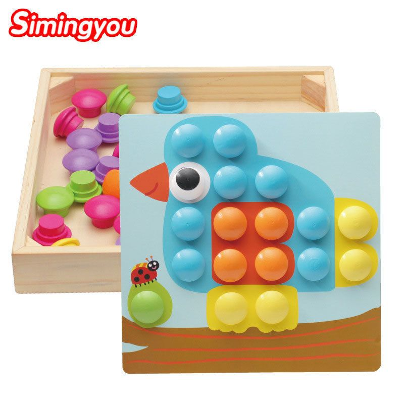 Simingyou 10 Pcs Learning Education DIY Wooden Mushroom Nail Intelligent 3D Puzzle Games Children Toys A50-07 Drop Shipping