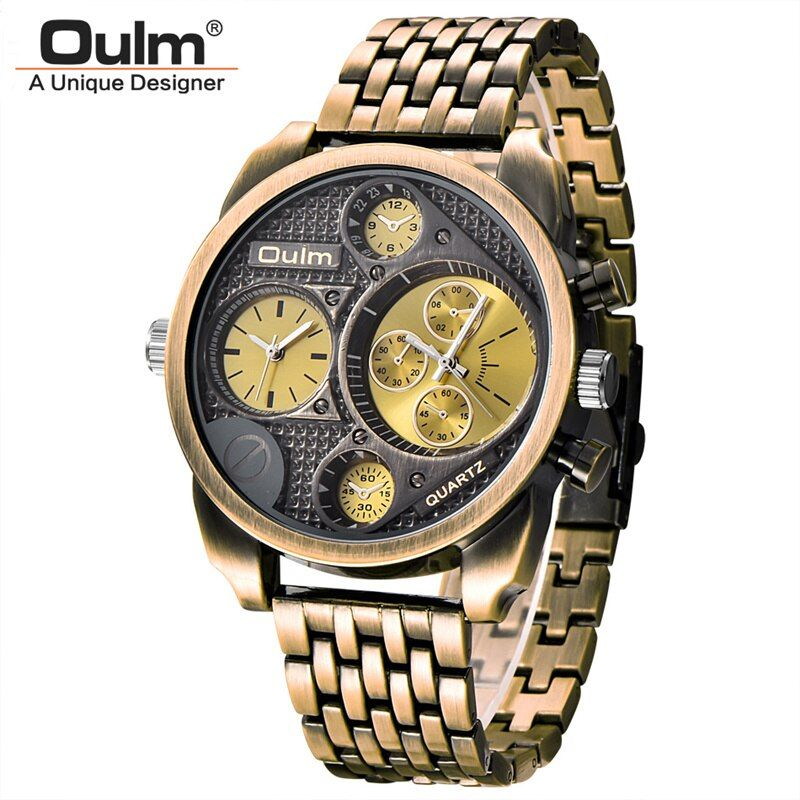 Oulm Luxury Brand Men Full Steel Quartz Watch <font><b>Golden</b></font> Big Size Men's Watches Antique Military Watch Male Relogio Masculino